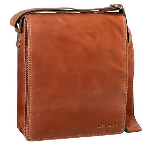 STILORD 'Lars' Vintage Schoudertas Mannenleer voor 13,3 inch Tablet MacBooks en iPad Schoudertas Mannenbag Echt Leder, Kleur:cognac - glimmend