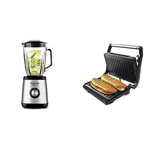 Taurus Optima Magnum Batidora de vaso, 1000 W, 1.5 L, acero inoxidable + Grill & Toast - Sandwichera con placas grill antiadherentes, 700 W, tapa basculante, gancho fijo de cierre