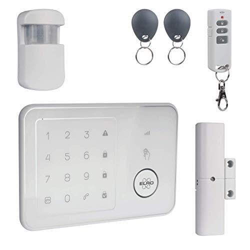 ELRO AG4000 Home Funk Alarmanlage mit GSM Modul und App, komplette Alarmanlage mit Bedienteil, Bewegungsmelder, Fenster-/Türkontakt, Fernbedienung und RF-Tags