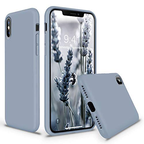 Vooii iPhone Xs Case, iPhone X Case, Soft Liquid Silicone Slim Rubber Full Body Protective iPhone Xs/X Case Cover (with Soft Microfiber Lining) Design for iPhone X iPhone Xs - Lavender Grey