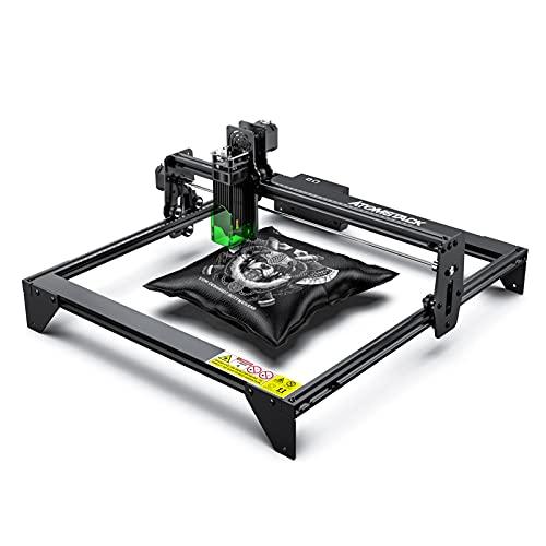 Máquina de grabado láser, cortadora láser función de enfoque de diseño de protección para los ojos, grabadora láser DIY CNC para metal, madera, cuero, vinilo (A5 20W)