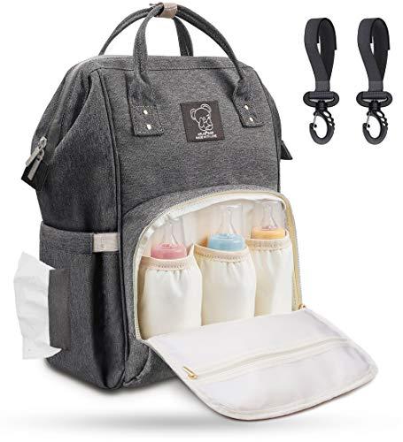 Wickelrucksack Baby Wickeltasche Groß mit Kinderwagenhaken, Multifunktionale Babytasche mit Großer Kapazität für Unterwegs, viele Fächer, Wasserabweisend, Grau