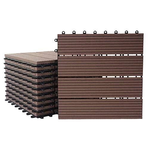 Mendler WPC Bodenfliese Rhone, Holzoptik Balkon/Terrasse, 11x je 30x30cm = 1qm linear ~ Premium, Coffee