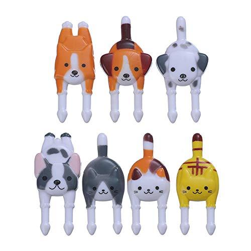 Ranana 7 Tenedores para Palillos de Comida Bento, Reutilizables, creativos, de Dibujos Animados, Gato, Perro, Animales, Palillos de Frutas, Tenedores, plástico, Animal, Pastel, pequeños Adaptable