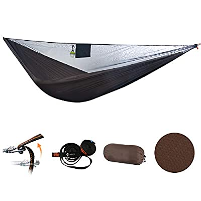 onewind Single Camping Hammock with Tree Straps 10ft, Mosquito Bugnets, Adjustable Ridgline, Compact Storage Bag, Portable Lightweight Hammocks for Camping, Hiking, Backpacking(HMKS4011BR)