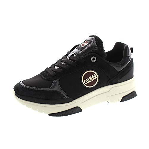 Colmar Travis S-1 - Fury 138, Sneakers Donna Casual, Lacci, Black, Nero, Woman (Numeric_38)