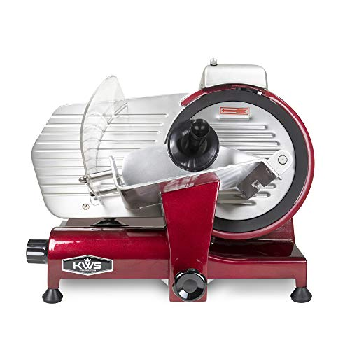 KWS MS-10XT Premium Commercial 320W Electric Meat Slicer 10-Inch in Red with Non-sticky Teflon Blade, Frozen Meat/ Deli Meat/ Cheese/ Food Slicer Low Noises Commercial and Home Use