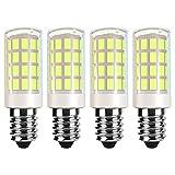 VOKWAK E14 LED Bulb E14 European Base Bulb E14 Cooker Hood Bulb E14 Chandelier Light Bulb 120V Replace Salt lamp,home lighting, kitchens lighting 4W(40W Halogen Equivalent)4-Pack(Daylight White 6000K)