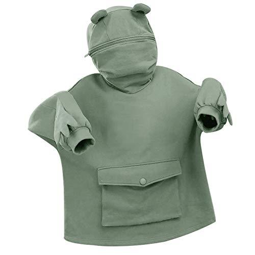 OPIAL Women Novelty Frog Hoodie Cute Zip up Green Hooded Top Sweatshirt Loose Pullover Top(A-Green,S)