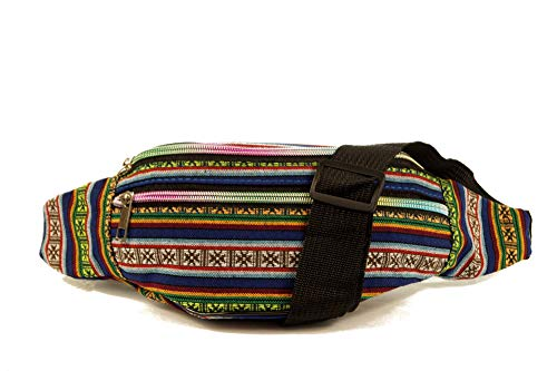 Jay-Fashionbox Damen Hüfttasche Gürteltasche Ethno Style Bauchtasche Doggy Bag mi 3 Fächern und verstellbaren Gürtel Canvas Mehrfarbig