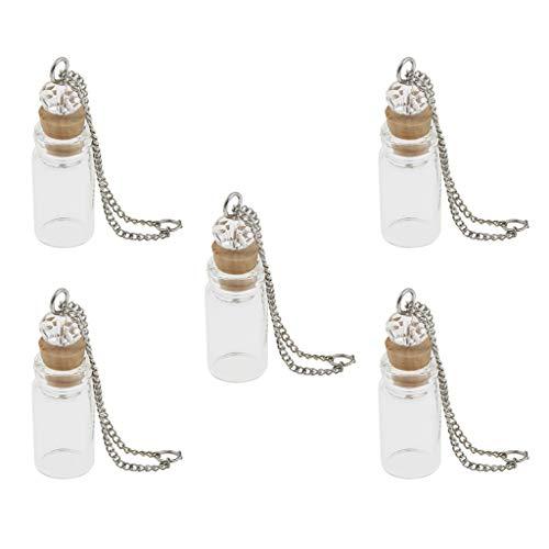 Almencla 5PCS Tiny Glass Corchos Botella de Aroma - Viales con Colgante de Collar - Decoración de Bricolaje - 1ml Borrar