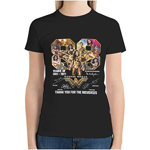 Mujer Wonder Woman 80 años de 1941 2021 Thank You For The Memories Firmas Tops Personalizado 3D Estampado Algodón Camiseta de Manga Corta Regalo para Chicos para Entrenamiento y Fitness Eurocode