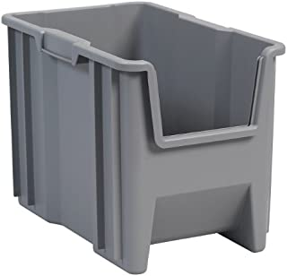 Akro-Mils 13014 Stack-N-Store Heavy Duty Stackable Open Front Plastic Storage Container Bin, (17-1/2-Inch x 11-Inch x 12-1/2-Inch), Gray, (4-Pack)