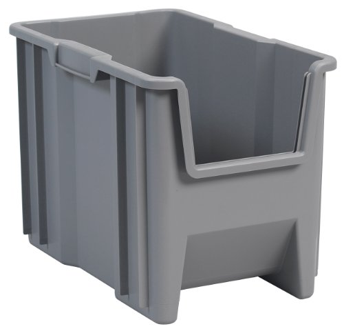Akro-Mils 13014 Stack-N-Store Heavy Duty Stackable Open Front Plastic Storage Container Bin 17-12-Inch x 11-Inch x 12-12-Inch Gray 4-Pack