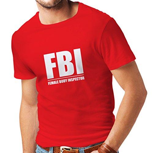 Männer T-Shirt FBI - weiblicher Körper Inspektor - lustige Geschenke für Männer, humorvolle Zitate (XX-Large Rot Weiß)