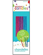 Amscan 7 inch Sparkling Glitter Candles 18 Pieces - 17122.99, Multi Color