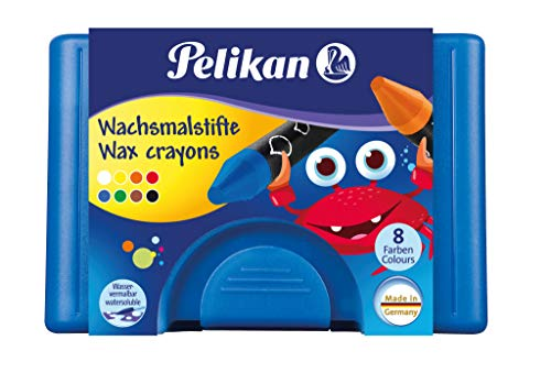 Pelikan Wachsmalstifte dreieckig, wasservermalbar Box mit 8 Stück + 1 Schaber (Blau)