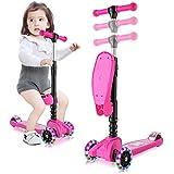 Outcamer patinete niños 4 ruedas led con asiento plegable y manillar altura ajustable patinete para niño y niña 3 a 9 años deportivos juegos scooter regalos de infancia y vacaciones