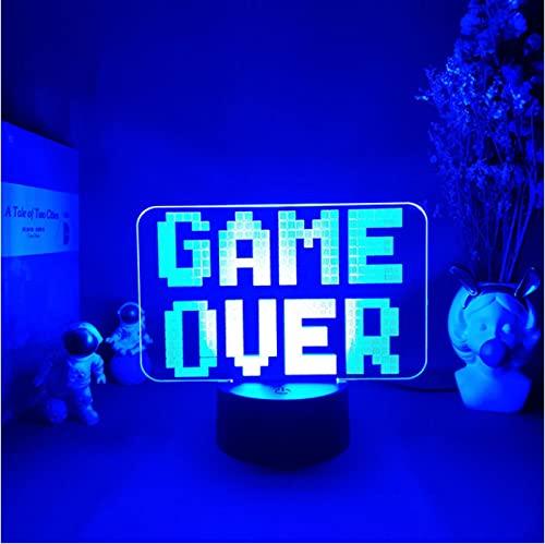 Lámpara Game Over 3D, 7 Colores, Luces Led Nocturnas, Regalos Para Habitación De Amigos,...