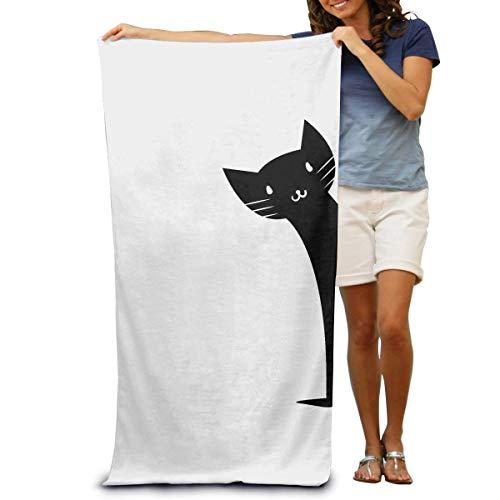 jingqi Toalla De Mano De Gran Tamaño,Toallas De Baño,Toalla Secado Rápido,Behind The Door Cat Kitty - Toalla De Baño para Mascotas,Toallas De Viaje Grandes,130X80Cm
