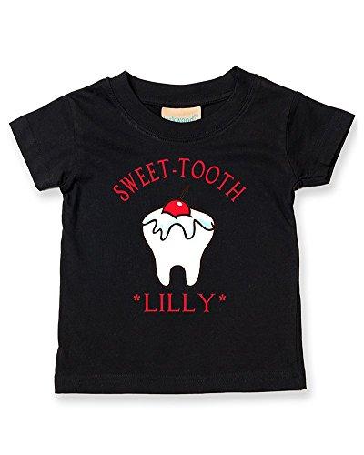 Ice-Tees T-shirt personnalisé avec inscription Sweet Tooth pour bébé - Noir - 2-3 ans