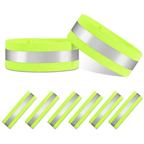 Vegena 6er Set Reflektorband Reflektierendes Armband, Armband Knöchel Reflektor Sicherheit Reflexband für Outdoor Jogger Laufen Reiten Fahrrad Wandern Motorrad-Reiten Outdoor Sports