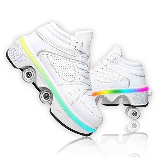 Zapatos con Ruedas para Niños Y Niña Led Luces, Zapatos Multiusos 2 En 1 Patines Zapatillas Deportes Al Aire Libre De Deporte