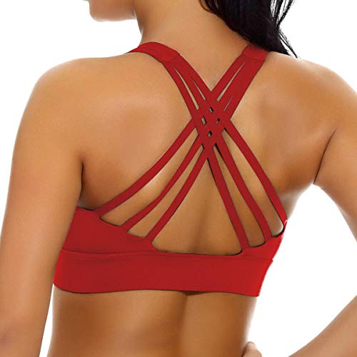 nine bull Women's Removable Padded Sports Bras High Impact Support Fitness Racerback Workout Yoga Bra (S, Red-2)