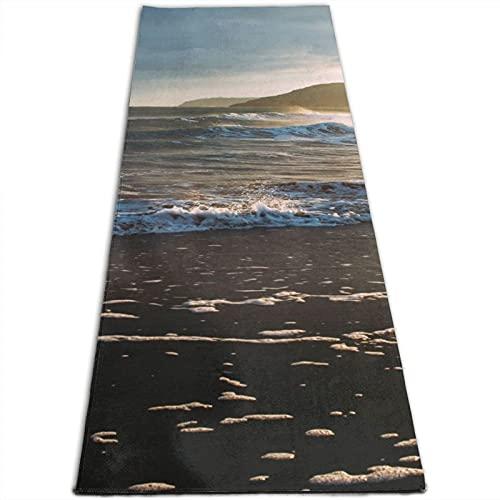 Alfombra de yoga con estampado de paisaje marino de 5 mm de grosor, antideslizante, para todo tipo de yoga, pilates y ejercicios de suelo (180 cm x 61 cm x 0,5 cm)