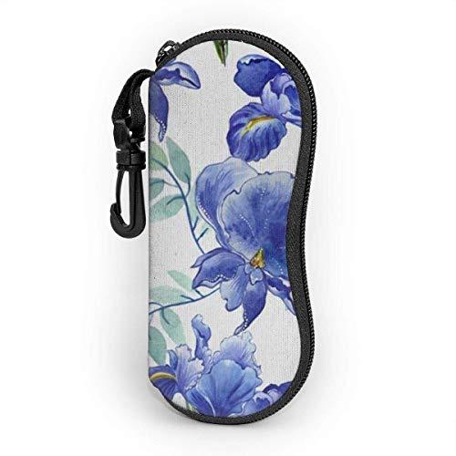 Funda de Gafas Azul Iris Flores Planta Wild Flower Primavera Naturaleza Floral Ultra Ligero Neopreno Suaves viaje Estuche para Gafas de caso Bolsa con Clip de Cinturón