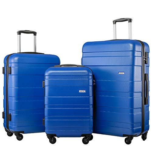 Merax Set of 3 Luggage Lightweight Hard Shell suitcase 4 wheel Travel Trolley Suitcase Set Holdall Case 20/24/28 inches (Blue)