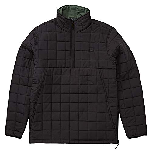 Billabong Men's Boundary Reversible Puffer Anorak Jacket Black Large