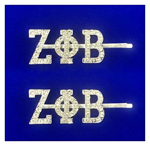 2 Piece Zeta Phi Beta Sorority Inspired Austrian Crystal ZPhiB Hair Pins, 2 Clips Per Set, Large Sparkling Rhinestone Bobby Pins