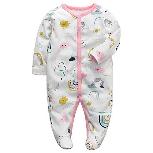 Baby Strampler Schlafstrampler Pyjama Overall Baumwolle Jungen Mädchen Lange Ärmel Spielanzug footed Babykleidung 0-3 Monate