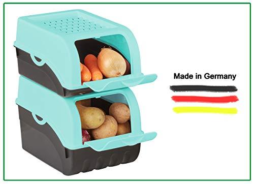 Novaliv Kartoffel Aufbewahrungsbox | groß 9L | TÜRKIS | Kartoffelbox | Gemüsebox stapelbar Zwiebelbox Kartoffelkorb Obstbehälter Kartoffelkiste Zwiebel Aufbewahrung Frischhaltedose Möhren