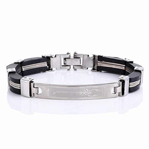 BJINUIY Edelstahl Armband, Titan Stahl Silikon Schmuck, Skorpion Muster, Energie Armband Stahl
