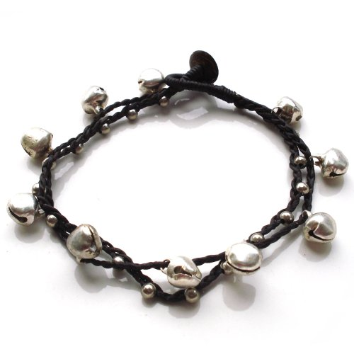 Idin Fußband - Doppelsträngig mit silbernen Perlen und Glöckchen (ca. 24 cm lang)