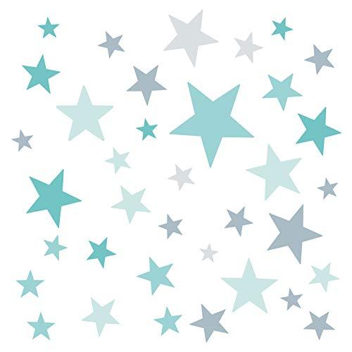 Little Deco Wandaufkleber 60 Sterne Kinderzimmer Mädchen Junge Stars I türkis Mint grau I Wandtattoo Schlafzimmer Wandsticker Set bunt selbstklebend DL399