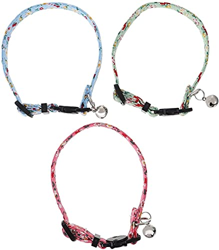 QIXIAOCYB 3 unids Pet Pendiente Collar Pet Bell COLLARE Collar DE Pet Pet NECCAÑO Ajustable COLVELO DE Gato DE Pet Caja DE Pet Collar