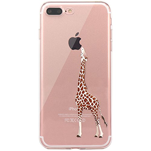 JAHOLAN iPhone 7 Plus Case, iPhone 8 Plus Case Amusing Whimsical Design Clear TPU Soft Case Rubber Silicone Skin Cover for iPhone 7 Plus iPhone 8 Plus - Eating Giraffe
