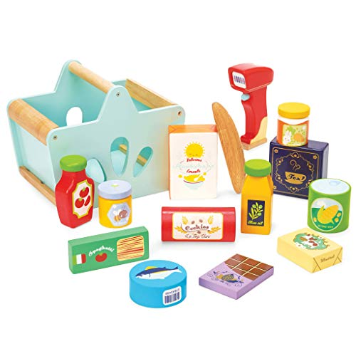 Le Toy Van - Wooden Groceries Toy Play Set & Wooden Scanner for Shopping Role Play | Supermarket Pretend Play Shop with Toy Food