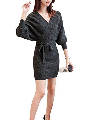 Mengmiao Damen Pullover Kleider Strickkleid Sweater Winterkleider Kleid Sweatkleid Strickkleider Langarm Dunkelgrau