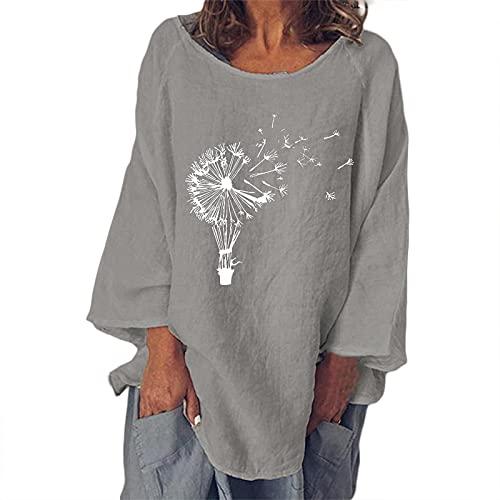 FOTBIMK Camiseta de manga larga con estampado de diente de león de algodón suelto de lino de color sólido cuello redondo, gris, 5XL