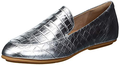 FitFlop Women's Loafer Flat, Silver, 8.5