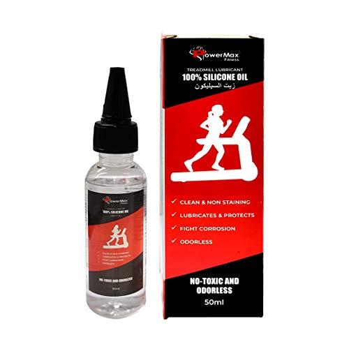 PowerMax Fitness Multi-Purpose PMS-50 (50ml Silicone Oil Bottle) 100% Pure Silicone Treadmill Lubricant, Full Belt Width Lubrication, No Odor & No Propellants, Nozzle Cap for Easy Application, white