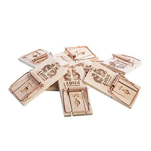 10ner Pack Neustanlo Mäusefallen aus Holz, Schlagfalle, Schnappfalle, Hohe Schlagkraft - Leicht zu verwenden