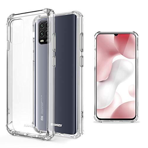 Moozy Transparent Silikon Hülle für Xiaomi Mi 10 Lite 5G - Stoßfest Klar TPU Hülle Handyhülle Schutzhülle