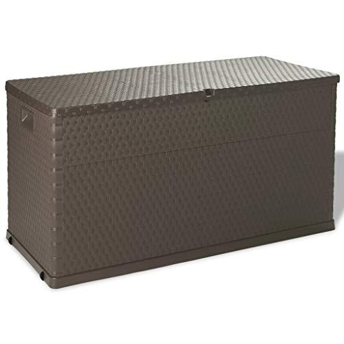 vidaXL Auflagenbox 420L Braun Kissenbox Gartenbox Gartentruhe Kiste Garten