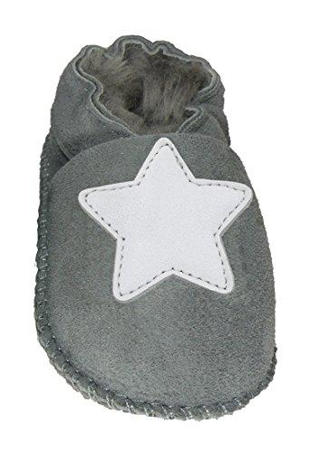 Plateau Tibet - ECHT Lammfell Baby Kinder Schuhe Babyschuhe - Stern weiß, Grau (Gray), Gr. 16-17
