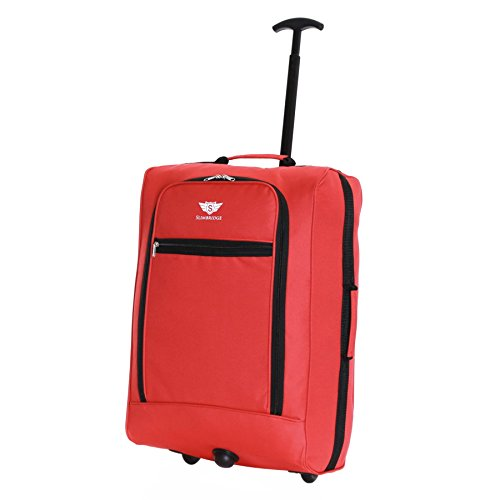 Slimbridge Cabin Carry-on Hand Luggage Suitcase Bag Ultra Lightweight 55 cm 1.4 kg 38 litres with 2 Wheels, Montecorto Red